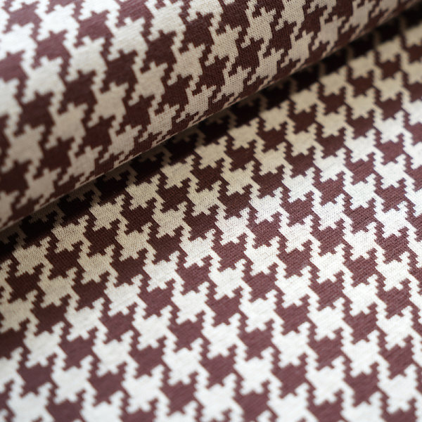 Organic Jacquard Houndstooth brown - beige