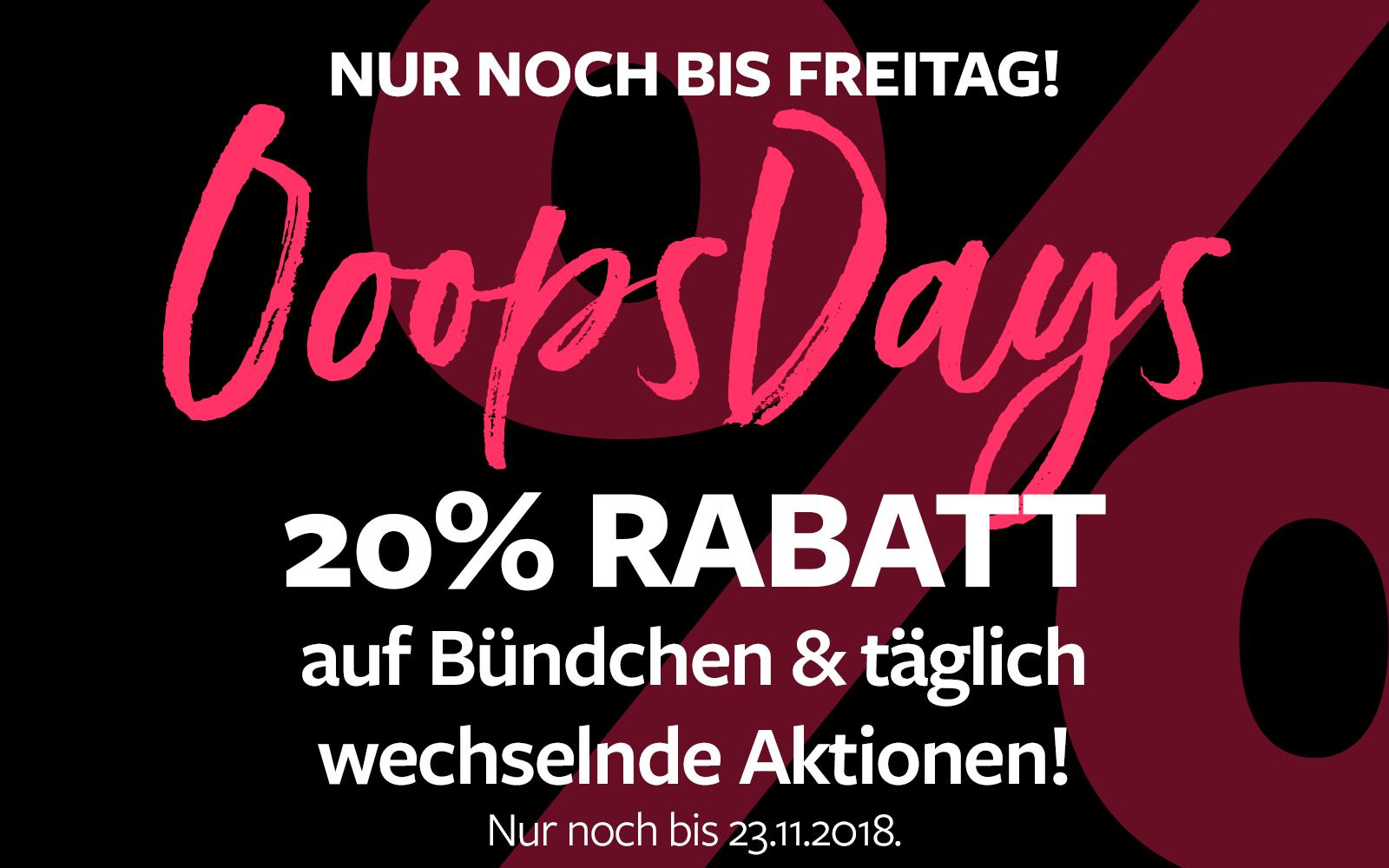 OopsDays - 20% Rabatt auf ausgewählte Artikel